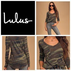 LULUS Rank and Style Green Camo Print Long Sleeve